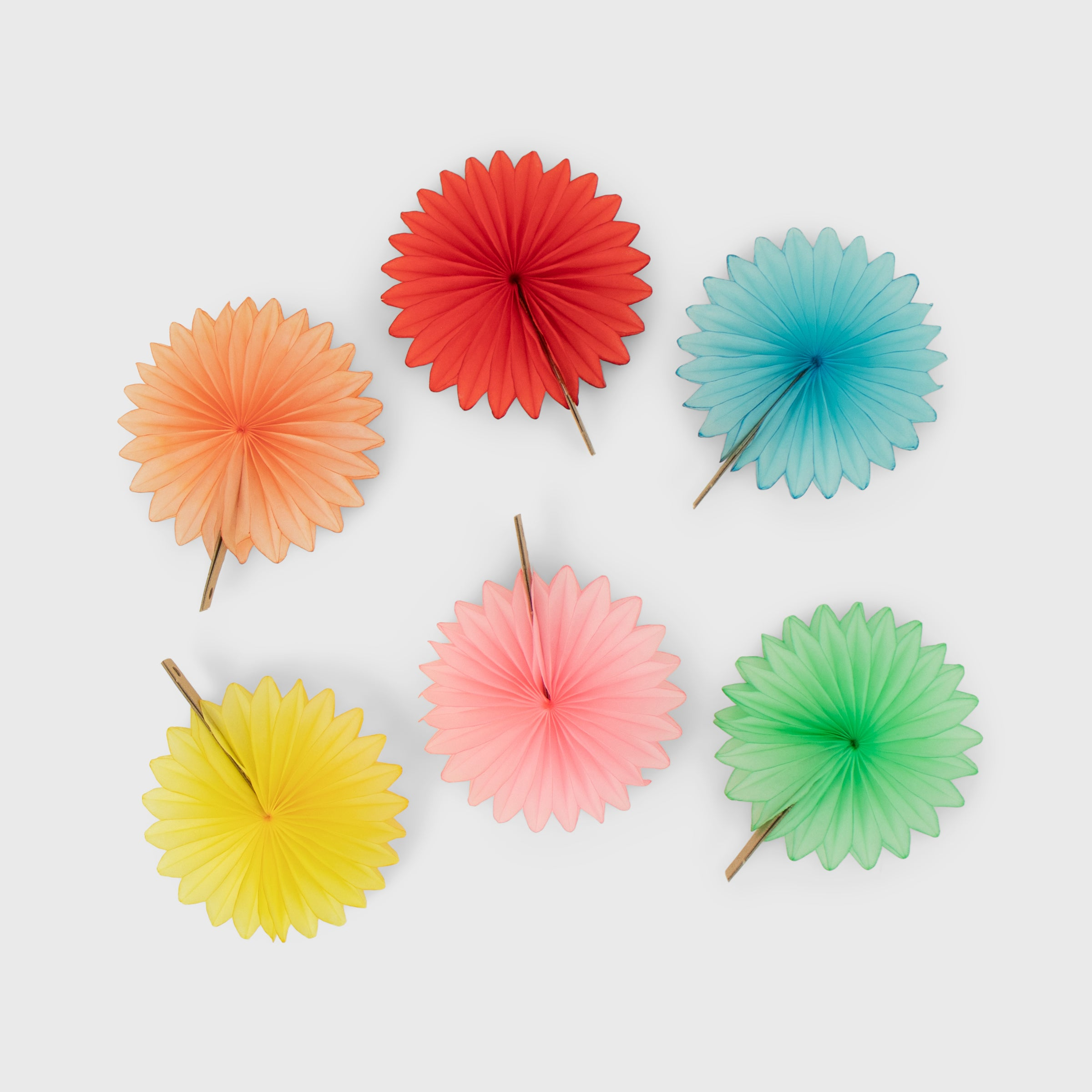 Mini Fan 8cm Pack of 6, Pastel
