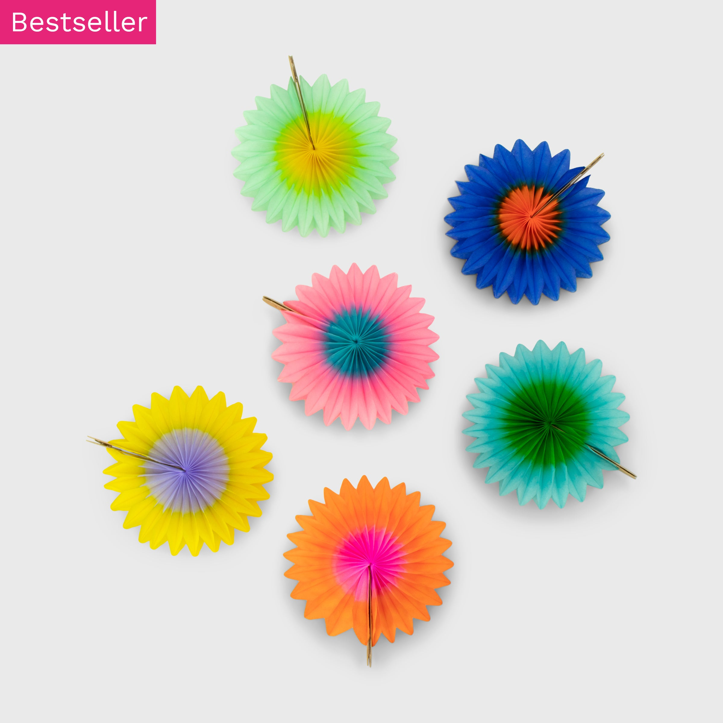 Mini Fan 8cm Pack of 6, Rainbow Two-Tone