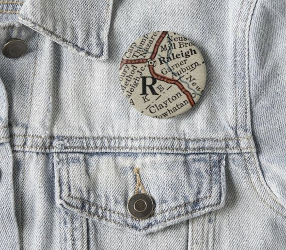 Raleigh Roadmap Pinback Button ACCESSORIES HOUSE OF SWANK