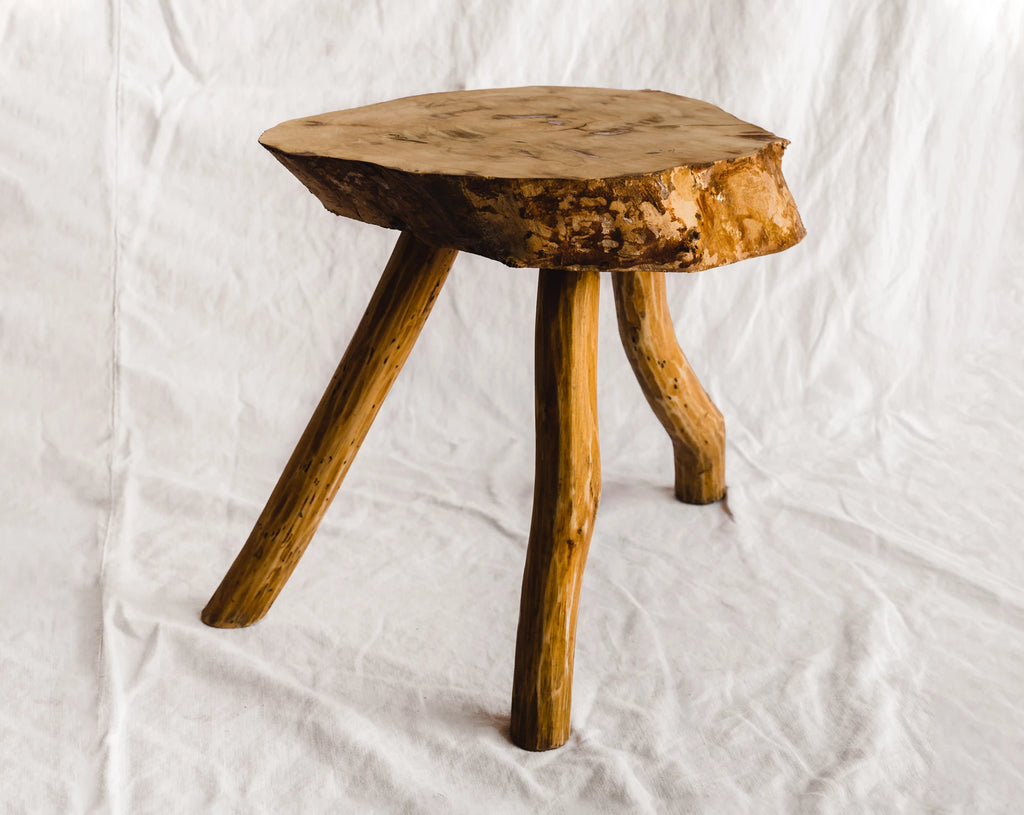 Raw Slab Wood Stool