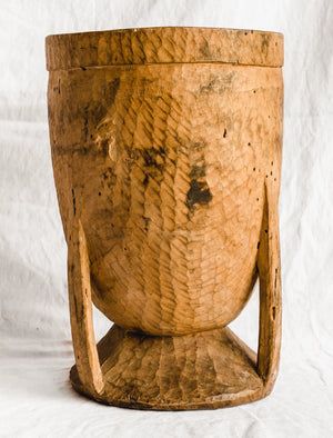 Large Hand Carved Wood Mortar
