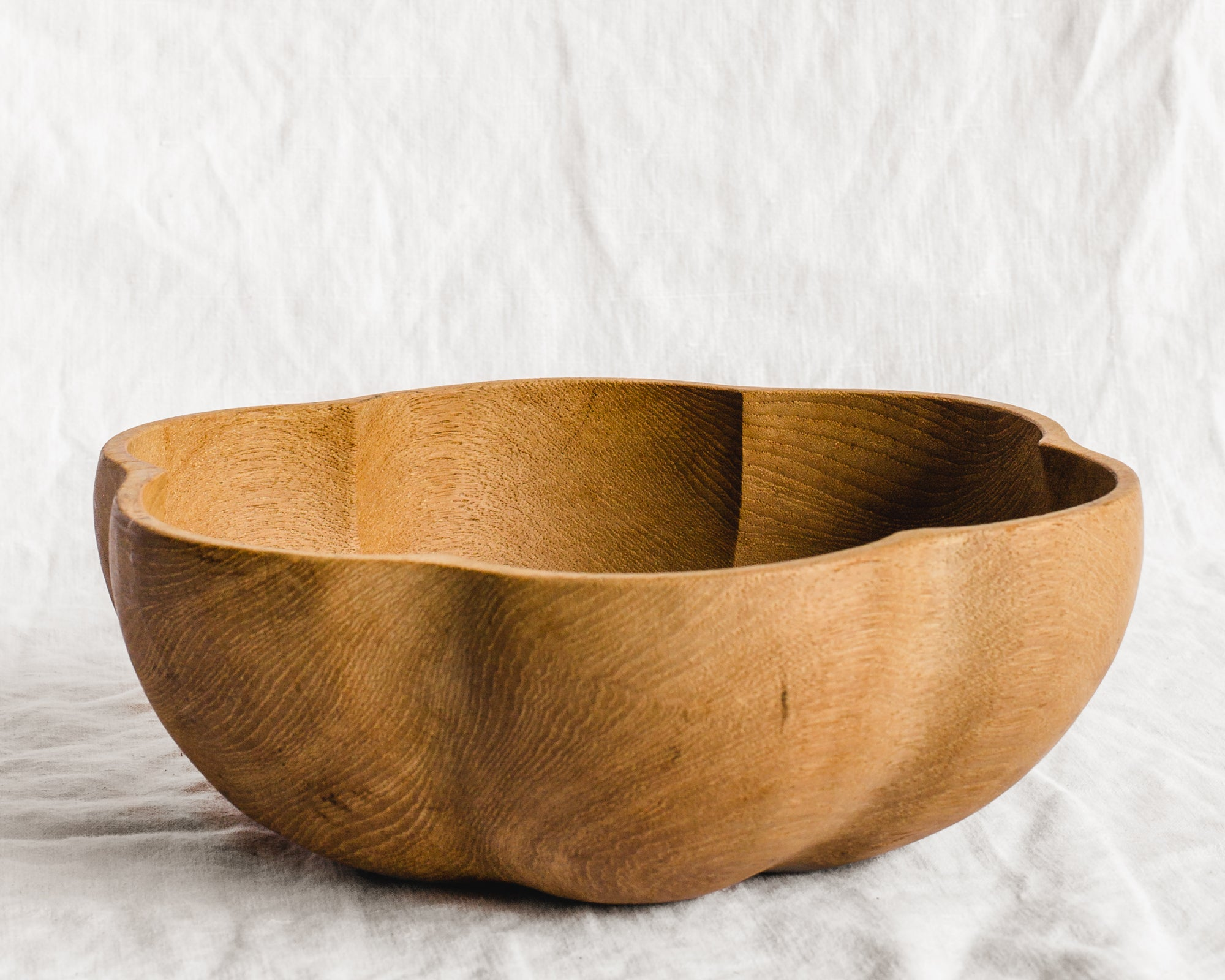 Scalloped Wood Bowl
