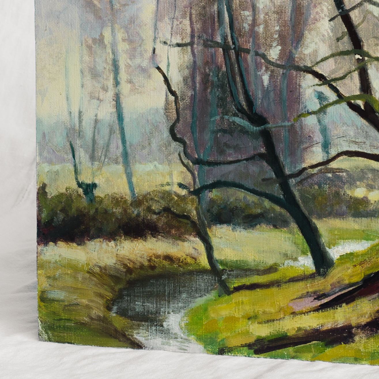 Barren Trees by Creek Painting