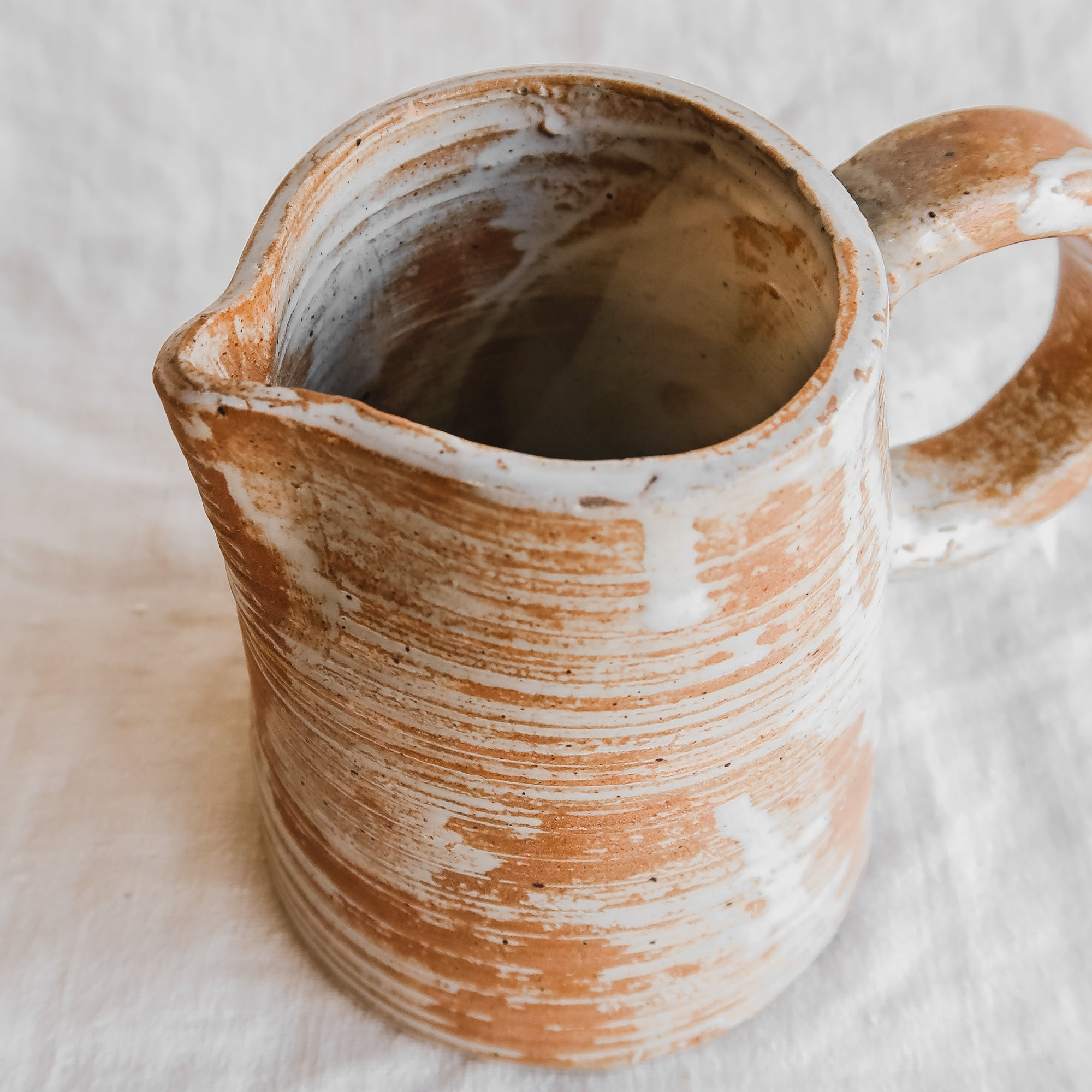Rust and White Dripped Pitcher