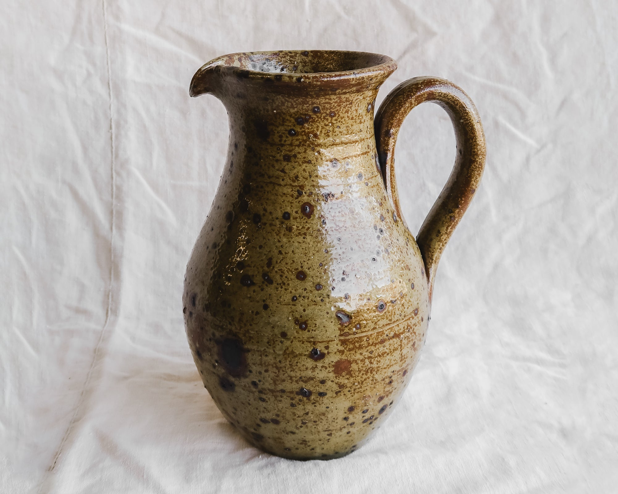 Large Speckled Stoneware PItcher