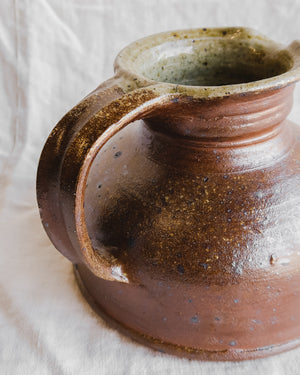 Short Speckled Stoneware Pitcher