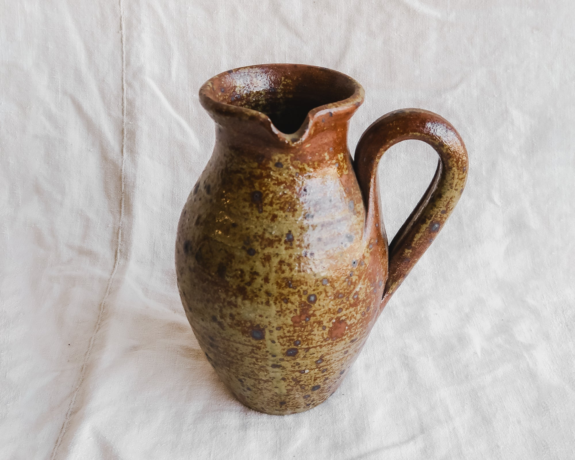 Stoneware Pitcher with Side Spout