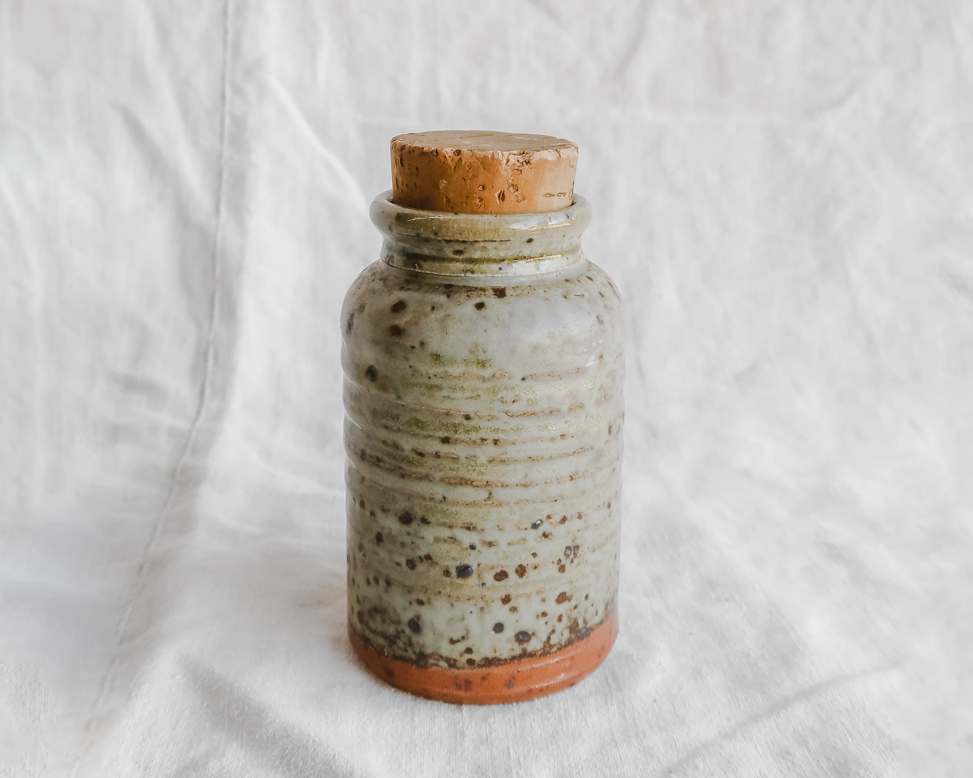 Speckled Stoneware Vessel with Cork