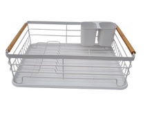 Load image into Gallery viewer, Kitchenista Metal White & Bamboo Dish Rack with Tray and Cutlery stand