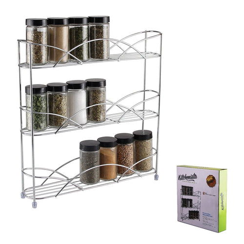 16 x Free Standing & Wall Mounted Spice and Herb Rack - Chrome - 2 Cartons