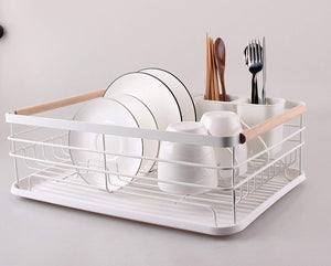 Kitchenista Metal White & Bamboo Dish Rack with Tray and Cutlery stand