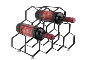 9 Bottle Wine Rack -  Portable. Modern, Stylish &  Free Standing Metal