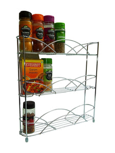 8 x Free Standing & Wall Mounted Spice and Herb Rack - Chrome - 1 Carton