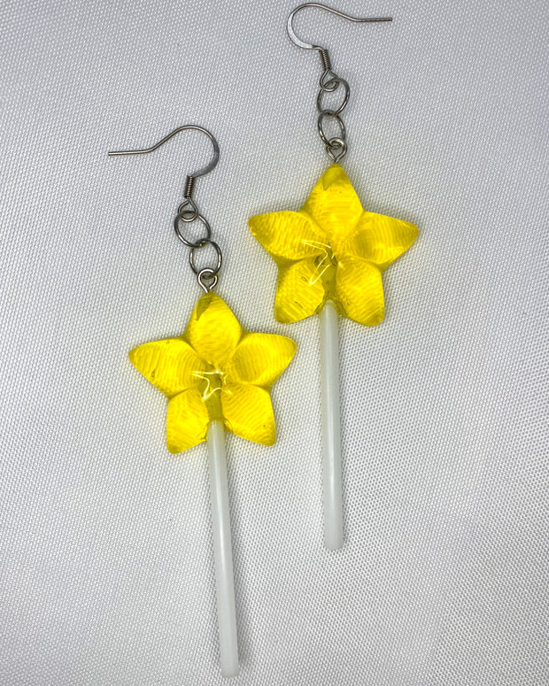 Yellow Star Lollipop Earrings