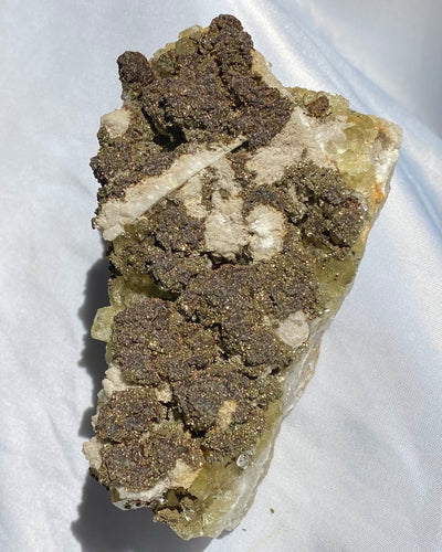 Large Quartz with Green Fluorite & Pyrite Specimen