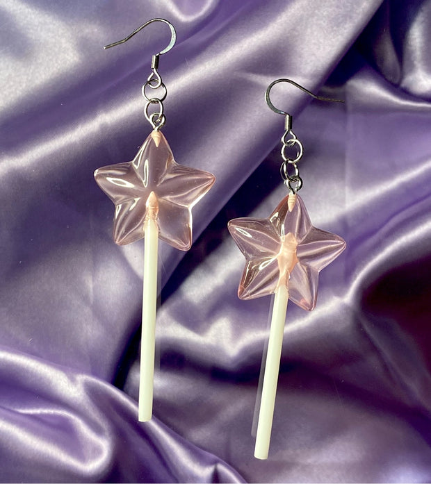 Pink Star Lollipop Earrings