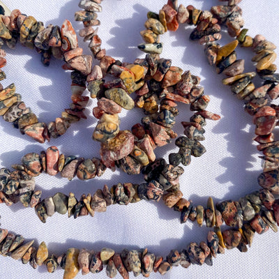 Leopardskin Jasper Chip Bead Necklace - 36 inches