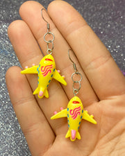 Yellow Airplane Earrings