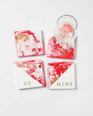 Martha Stewart Plaid Marbled Coasters DIY Valentine's Day Gift