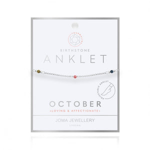 Birthstone Anklet - October Tourmaline