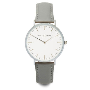Elie Beaumont Oxford Large Silver Leather Watch - Grey