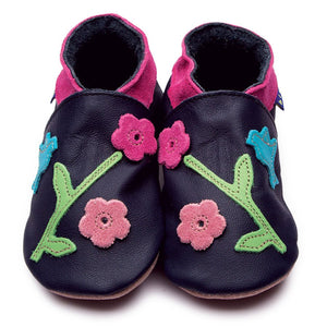 Oriental Bird Navy Handmade Baby Shoes