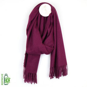Mulberry Recycled Yarn Soft Fringed Scarf
