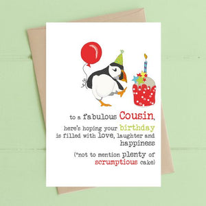 Cousin - Puffin - Birthday Filled with Cake Greetings Card