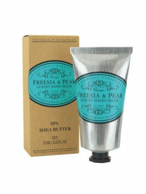 Naturally European Freesia & Pear Box and Silver Hand Cream Tube