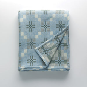 Welsh Woollen Melin Tregwynt St Davids Cross Pattern Throw - Bluestone