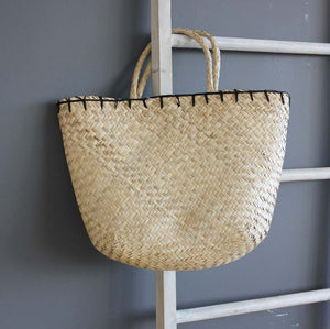 Summery Seagrass Beach Bag with black edging