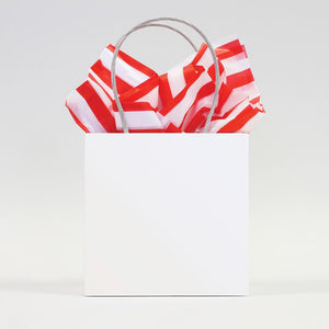 red and white stripes tissue paper