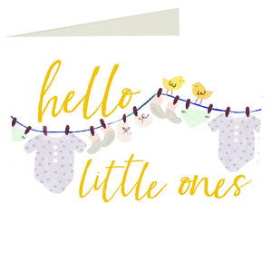 Caroline Gardner Hello Little Ones Twins Greetings Card