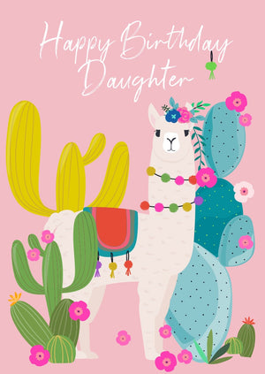 Wild Thing Daughter Llama Birthday Greetings Card