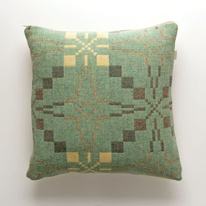 Welsh Woollen Melin Tregwynt Vintage Star Pattern Cushion - mint green
