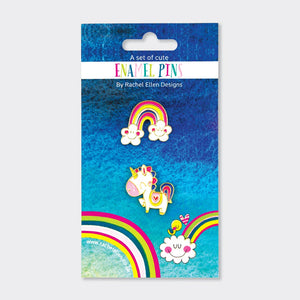 Rachel Ellen Designs Enamel Pin Badge Set - Unicorn & Rainbow