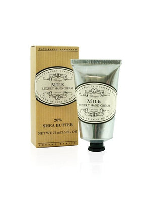 Naturally European Milk Box and Silver Hand Cream Tube