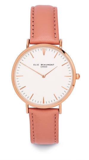 Elie Beaumont Oxford Large Rose Gold Leather Watch - Light Pink