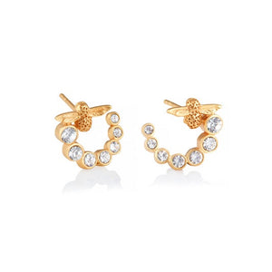 Olivia Burton Bejewelled Bee Swirl Hoop Earrings Gold