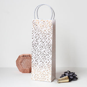 white with rose gold dots bottle gift bag