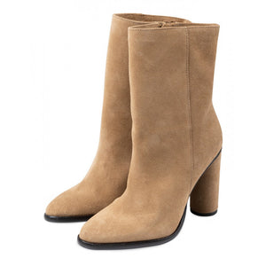 Suede Boots With Heel - Brown / Green