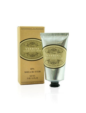 Naturally European Verbena Box and Silver Hand Cream Tube