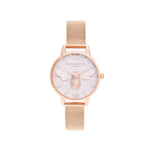 Olivia Burton Glitter Dial Lucky Bee & Rose Gold Mesh Watch
