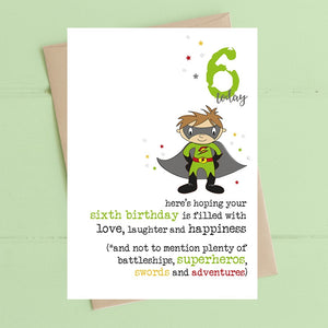 Birthday filled with superheros - Age 6 Boys Greetings Card