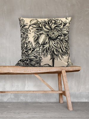 White Poppy Square Cushion