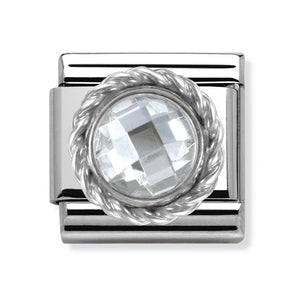 Nomination Classic Link Faceted White Cubic Zirconia Circle with twisted Silver Charm