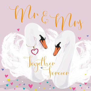 Coco Mr & Mrs Wedding Swans Greetings Card