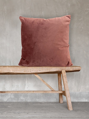 Velvet Square Cushion - Rhubarb