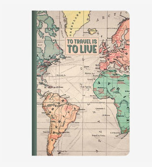 A5 Plain Notebook - Travel map