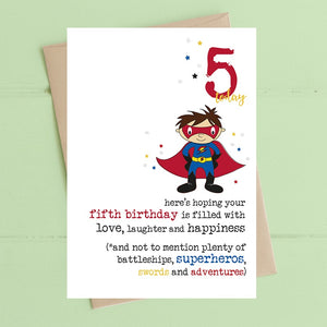 Birthday filled with superheros - Age 5 Boys Greetings Card